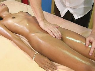 Skinny cute girl Kitti loves oiled massage