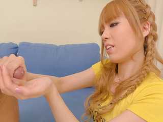 Kinky Sakura Hime turns the tables on her fuck buddy by jerking his cock and stuffing his ass with a dildo